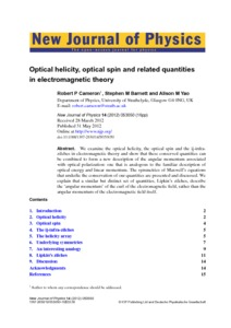 Optical helicity, optical spin and related quantities in