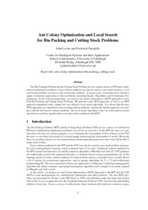 Ant colony optimisation and local search for bin-packing and cutting