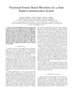 Fractional fourier transform based waveform for a joint radar