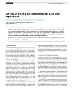 Diffraction grating characterisation for cold-atom