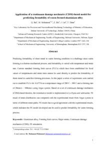 Application of a continuum damage mechanics (CDM)-based