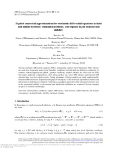 Explicit numerical approximations for stochastic