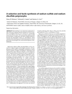 A selective and facile synthesis of sodium sulfide and sodium