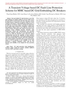 A transient voltage based DC fault line protection scheme for MMC