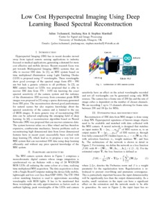 Low cost hyperspectral imaging using deep learning based
