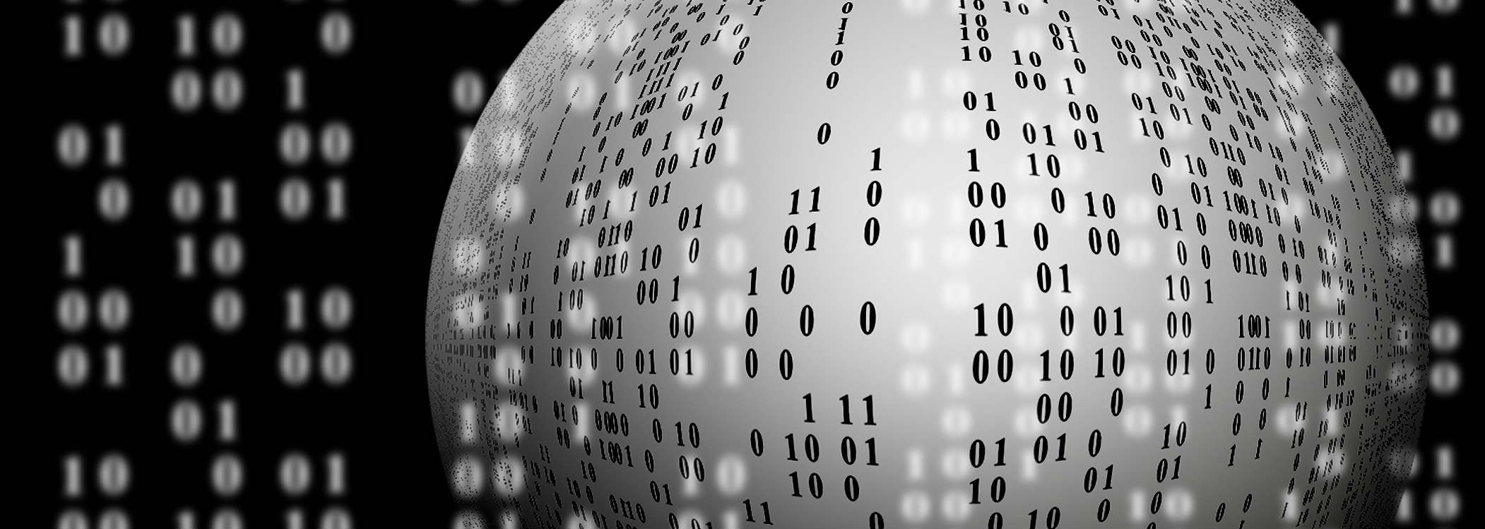 Picture of a sphere with binary code